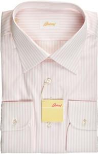 Brioni Dress Shirt Superfine Cotton 17 1/2 44 Pink White 03SH0472