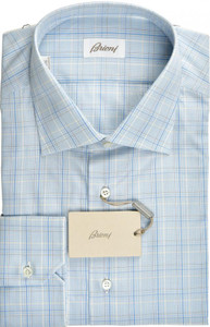 Brioni Dress Shirt Superfine Cotton 17 1/2 44 Blue White