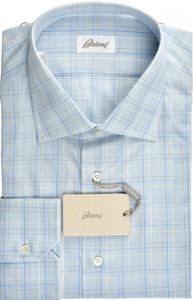 Brioni Dress Shirt Superfine Cotton 17 1/2 44 Blue White 03SH0501