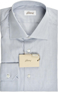 Brioni Dress Shirt Superfine Cotton 15 3/4 40 Blue White