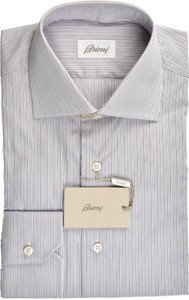 Brioni Dress Shirt Superfine Cotton 15 1/2 39 Purple Blue