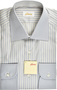 Brioni Dress Shirt Superfine Cotton 15 1/2 39 Blue Yellow