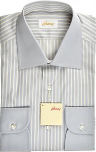 Brioni Dress Shirt Superfine Cotton 15 1/2 39 Blue Yellow 03SH0497