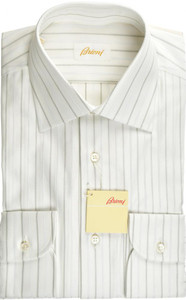 Brioni Dress Shirt Fine Cotton 15 1/2 39 Gray White 03SH0496