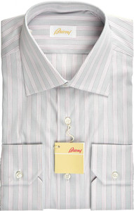 Brioni Dress Shirt Superfine Cotton 15 3/4 40 Gray Red
