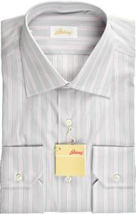 Brioni Dress Shirt Superfine Cotton 15 3/4 40 Gray Red 03SH0495