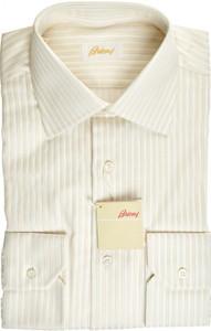 Brioni Dress Shirt Superfine Cotton 15 38 Brown White 03SH0494