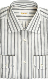 Brioni Dress Shirt Superfine Cotton 15 38 Gray White