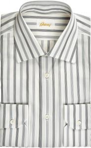 Brioni Dress Shirt Superfine Cotton 15 38 Gray White 03SH0493