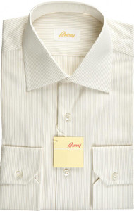 Brioni Dress Shirt Superfine Cotton 15 38 Brown White