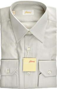 Brioni Dress Shirt Superfine Cotton 15 38 Gray