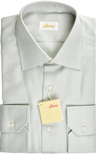 Brioni Dress Shirt Superfine Cotton 15 3/4 40 Green-Gray