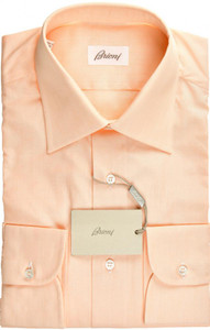Brioni Dress Shirt Superfine Cotton 15 3/4 40 Orange