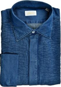 Brioni Dress Tuxedo Shirt French Cuff Cotton Denim 15 38 Blue 03SH0502