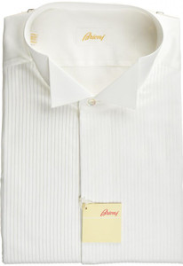 Brioni Formal Tuxedo Dress Shirt Superfine Cotton 17 1/2 44 White