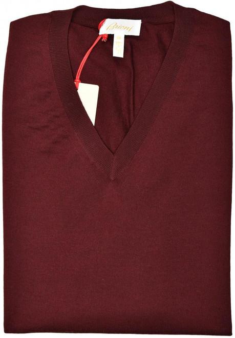 Brioni Sweater V-Neck Vest Wool Size XXLarge Burgundy