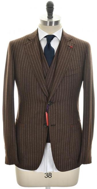 Isaia Suit 3-Piece 'Cortina' 2B Black Sheep Wool Size 38 Brown