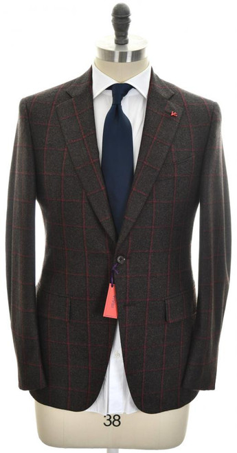 Isaia Suit 2B Wool 130's Size 38 Brown Windowpane