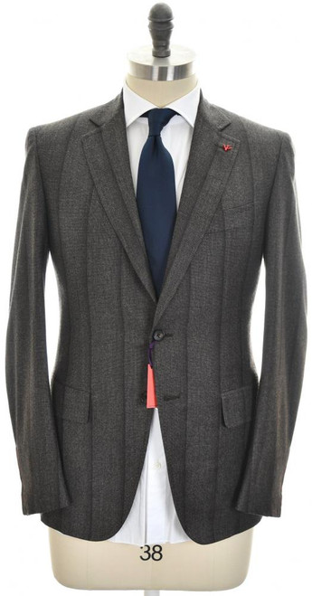 Isaia Suit 'Gregory' 2B Wool 140's Size 38 Brown Stripe