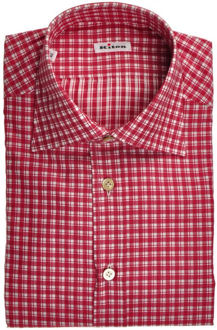 Kiton Luxury Dress Shirt Fine Cotton 15 3/4 40 Red White Check 01SH0439