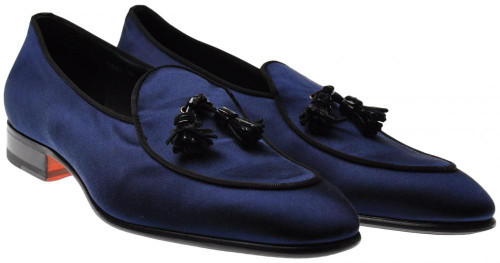 Santoni Shoes Fatte A Mano Tassle Loafers Satin 11.5 US 10.5 UK Blue 40SO0107