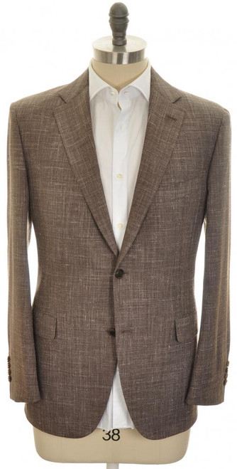 Belvest Sport Coat Jacket 2B Wool Silk Linen 42 S 52 C Brown 50SC0233