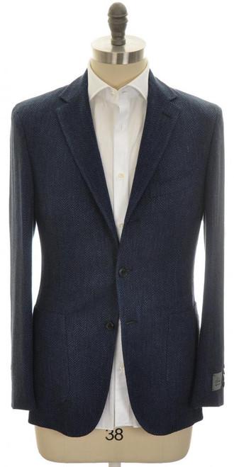 Belvest Sport Coat Jacket 3B Linen Wool 46 56 Blue Herringbone 50SC0231