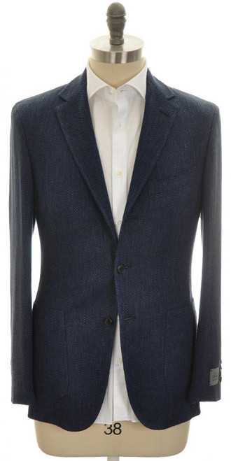 Belvest Sport Coat Jacket 3B Linen Wool 36 46 Blue Herringbone 50SC0228