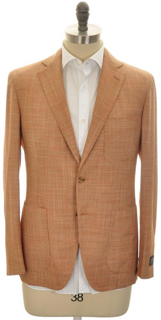 Belvest Sport Coat Jacket 2B Wool Silk 40 50 Orange Brown 50SC0240