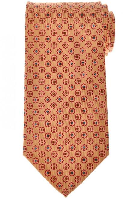 E. Marinella Napoli Tie Silk 'Wide Model' Yellow Red Geometric