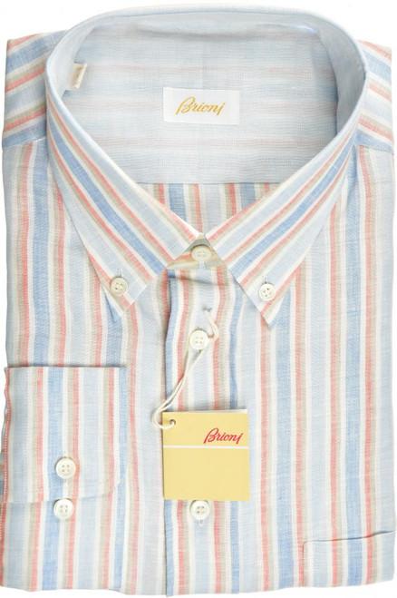 Brioni Dress Shirt Linen XXLarge VI Blue Orange