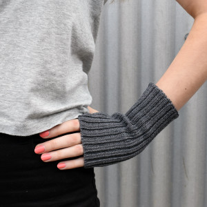 Dark Grey Knitted Wool Wrist Warmers