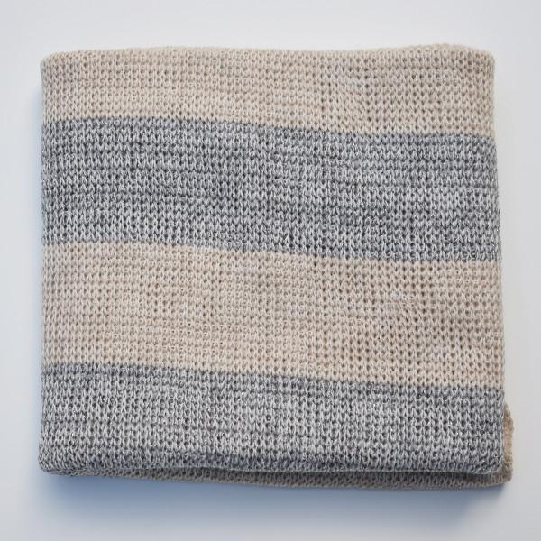 Striped Merino Baby Blanket - Silver