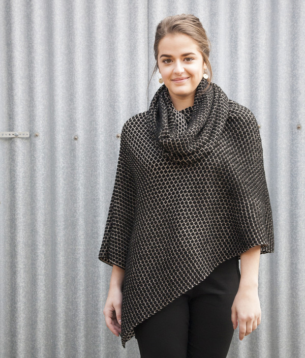 poncho worn with single loop scarf