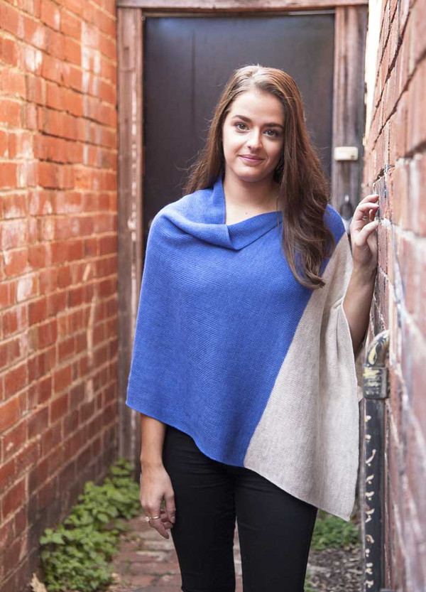 Merino Wool Poncho - Blue/Linen