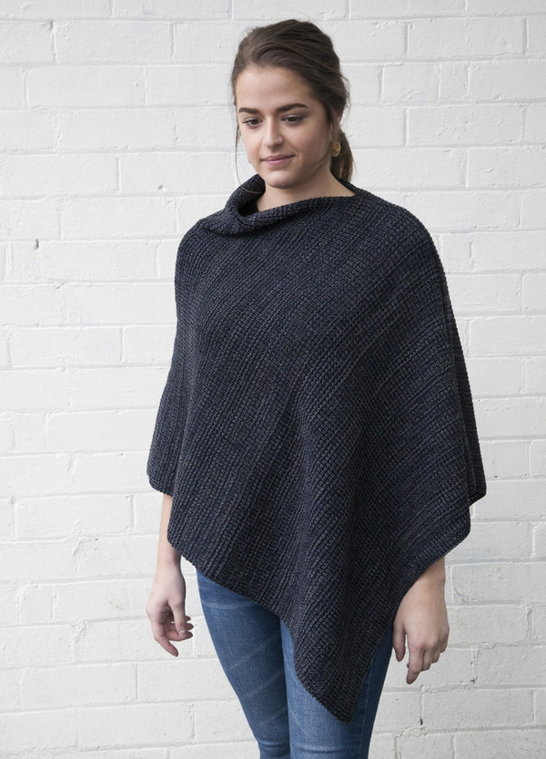 merino wool poncho - blue grey - chunky knit
