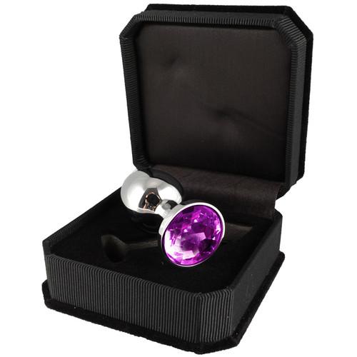 Rimba Small Aluminum Butt Plug With Purple Crystal -2303