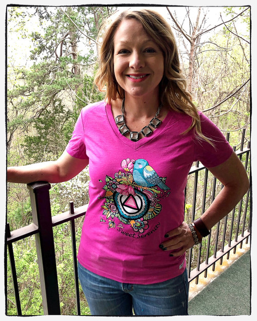 New! Sweet Serenity Raspberry V-Neck Tee