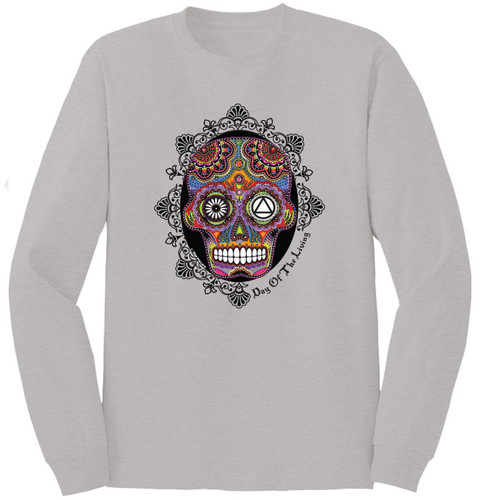 Sugar Skull Silver Long Sleeve Tee. New!