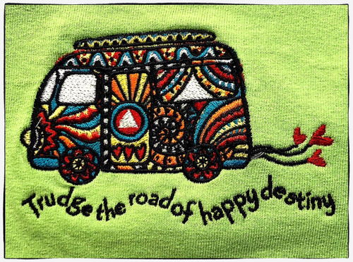 Embroidered Tshirt - Trudge the Road of a Happy Destiny