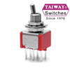Taiway brand toggle #100-DP1-T200B1M2QE - DPDT On On Switch - PCB Mount - Short Shaft