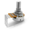 "Side view of 16mm potentiometer - 1/4"" smooth shaft - right angle PCB mount"