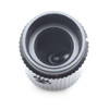 View of 6.4mm shaft on solid black aluminum knob - 16 x 12.7mm - The Falcon