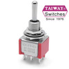 Taiway brand toggle #100-DP6-T100B1M1QE - DPDT On On On Switch - Solder Lug - Long Shaft