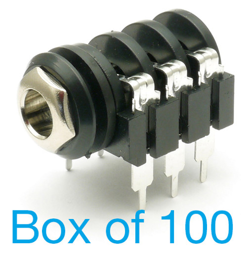 "box of 100 1/4"" Stereo Switched Enclosed Jack - Raised PCB Pins"