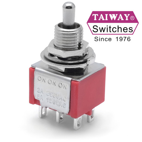 Taiway brand toggle #100-DP6-T200B1M1QE - DPDT On On On Switch - Solder Lug - Short Shaft
