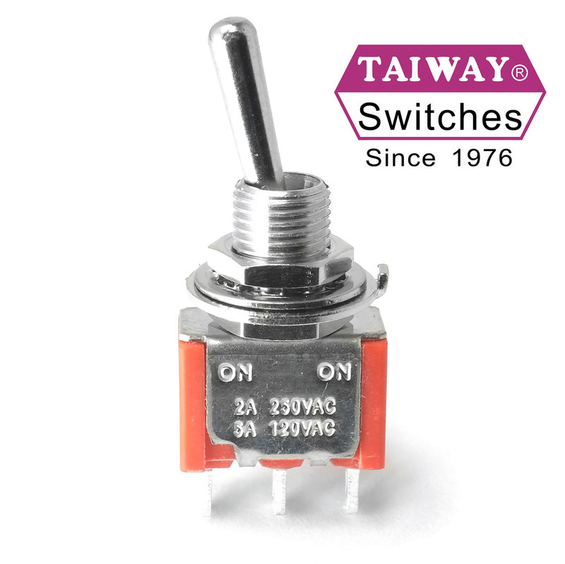 Taiway SPDT On On Switch - Solder Lug - Long Shaft - Love My Switches