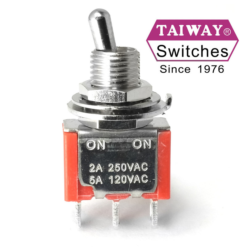 Taiway SPDT On On Switch - Solder Lug - Short Shaft - Love My Switches