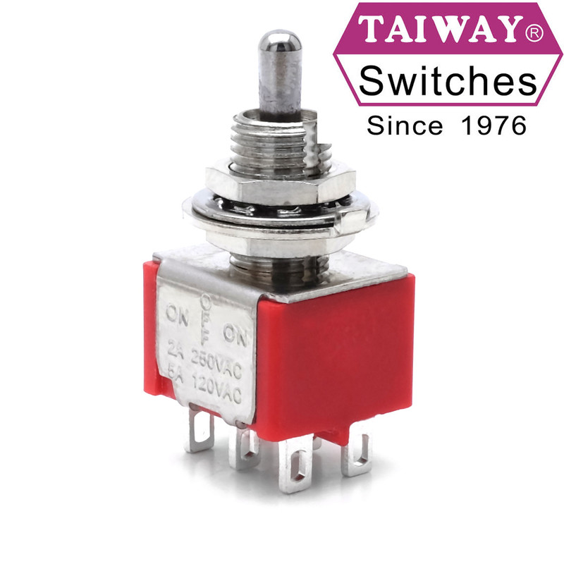Taiway toggle switch 100-DP3-T200B1M1QE | DPDT On-Off-On