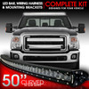 LED Light Bar Curved 288W 50 Inches Bracket Wiring Harness Kit for Ford F250 F350 Superduty 1999-2015